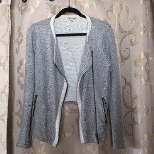 Lucky Brand navy/white knit motorcycle jacket
